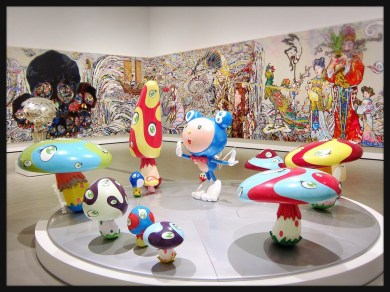 Takashi Murakami's DOB in the Strange Forest (Blue DOB) and In the Land of the Dead, Stepping on the Tail of a Rainbow.